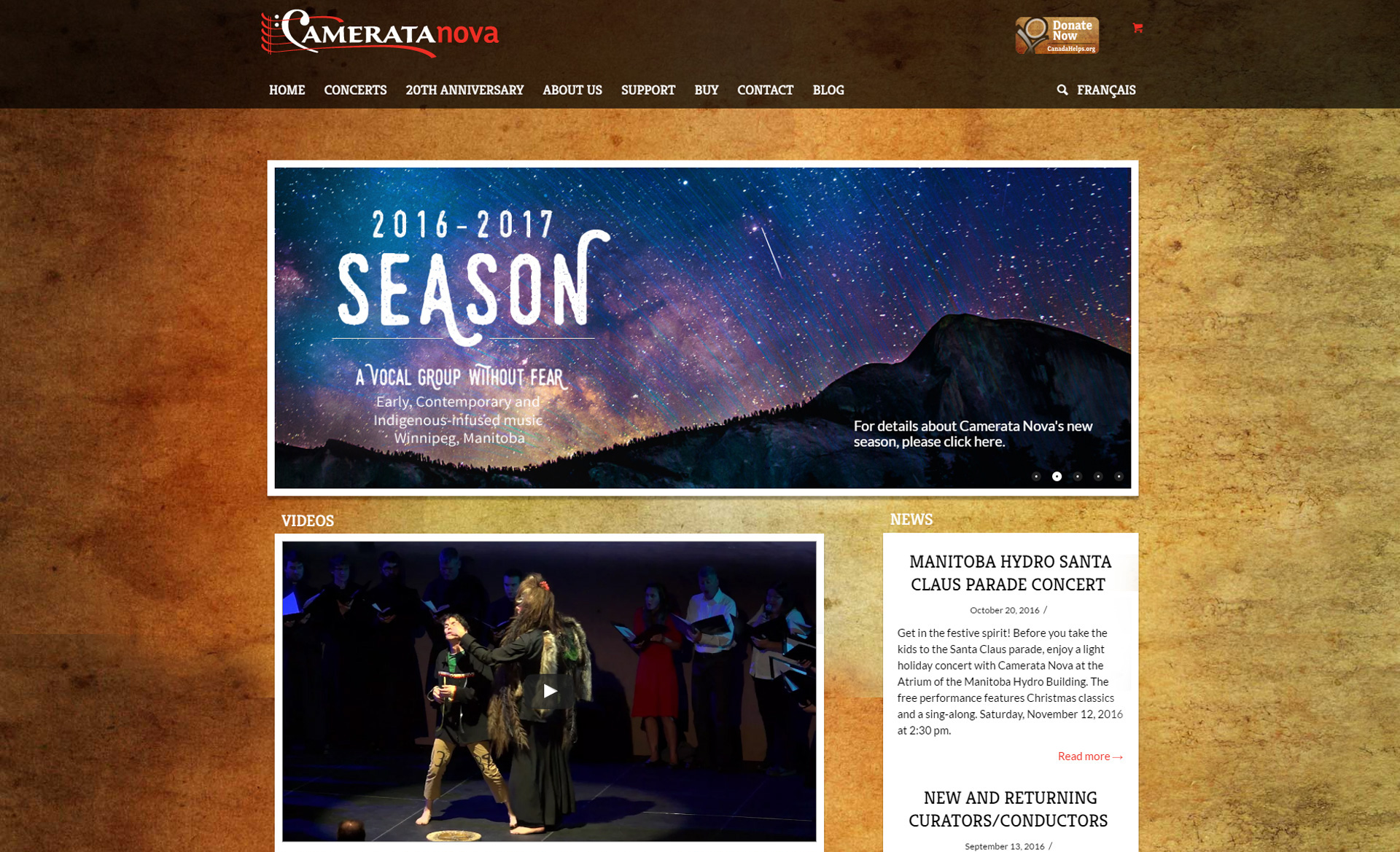 Camerata Nova website home page