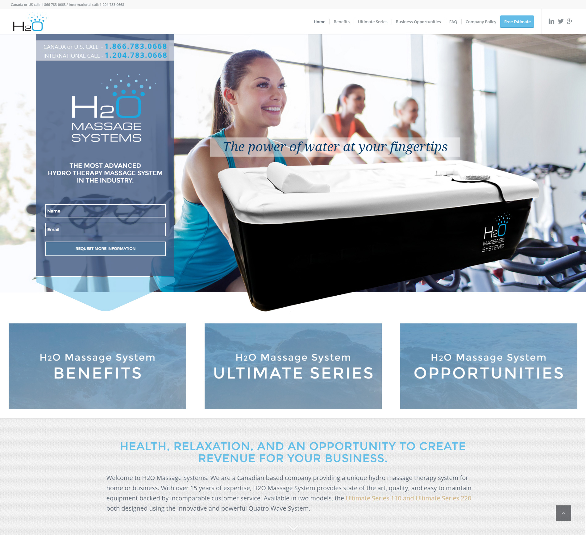 H2O Massage Systems website