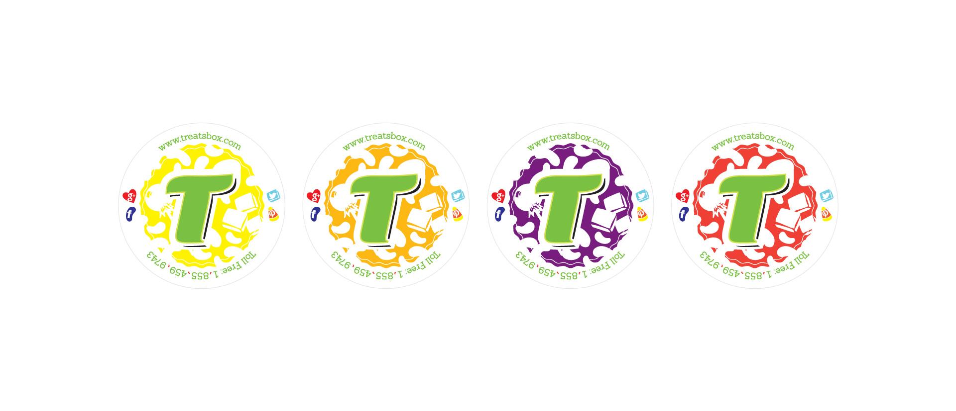 Treatsbox branding sticker design