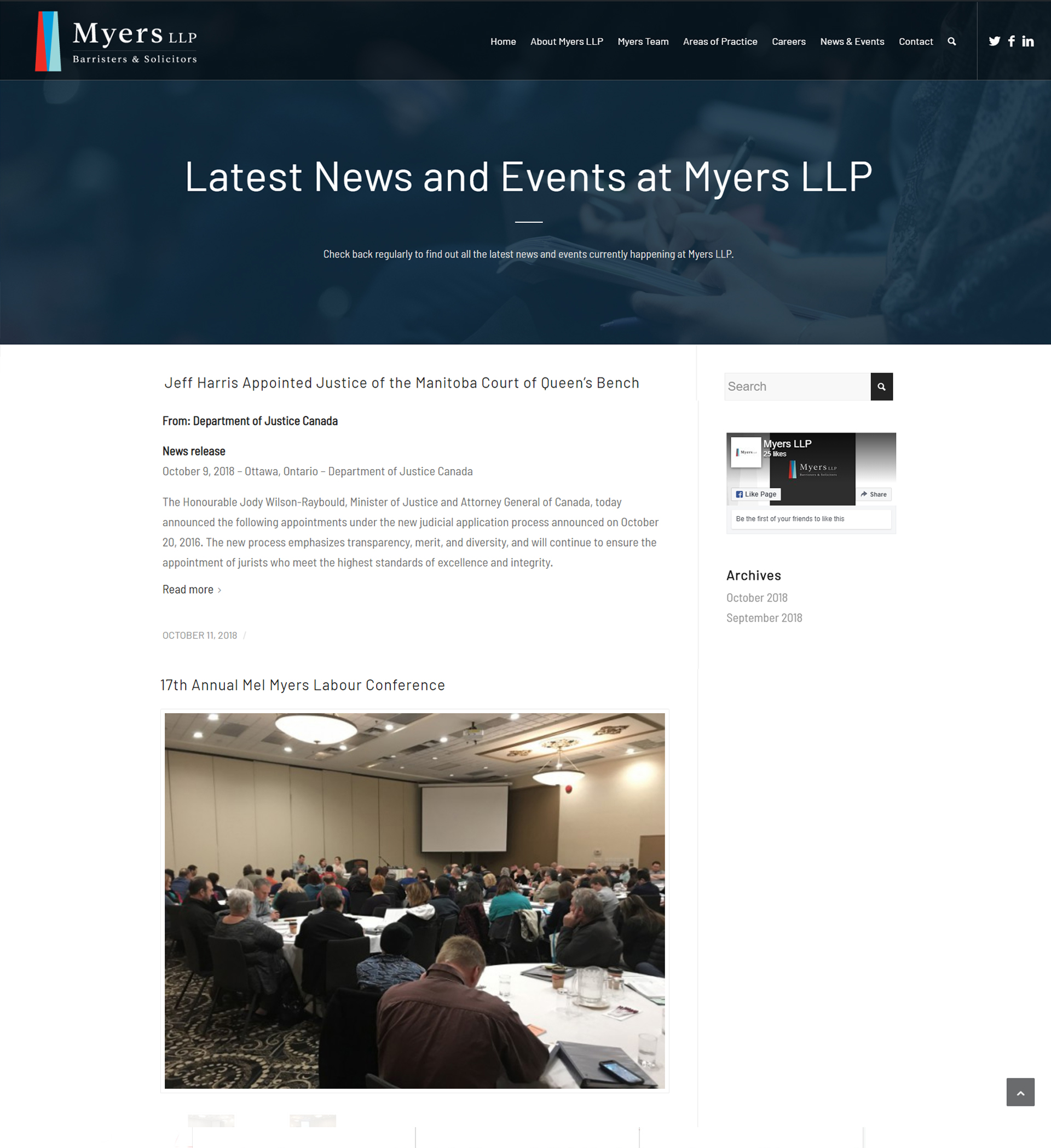 Myers LLP Website